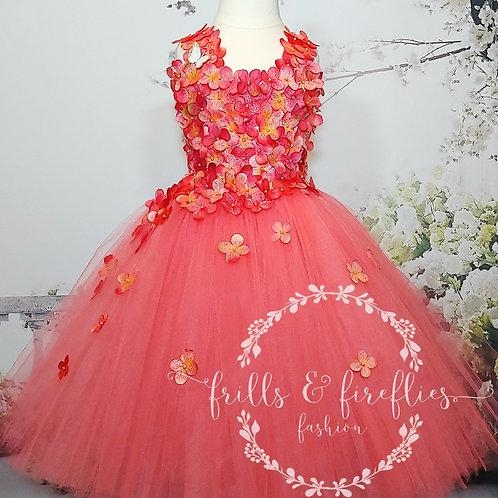 Coral Petal Shoulder  Flower Girl Dress/Bridesmaid Dress/Prom Dress/