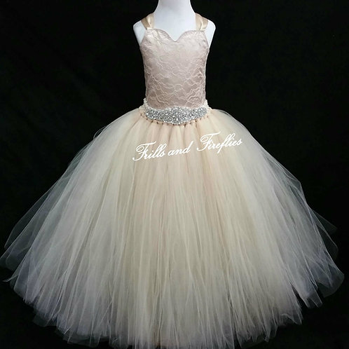 Champagne Corset Style Flower Girl Dress Baby Size 1t up to Children's Size