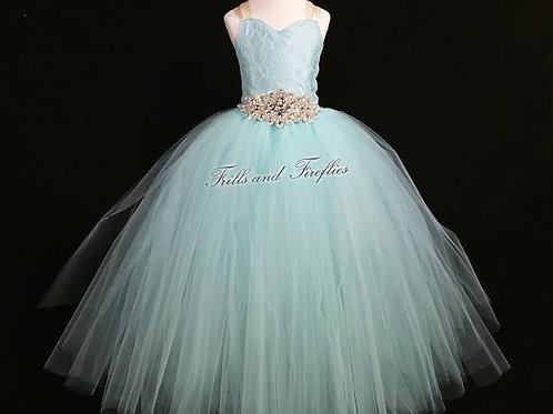 Aqua Lace Corset Style Flower Girl Dress Baby Size 1t up t