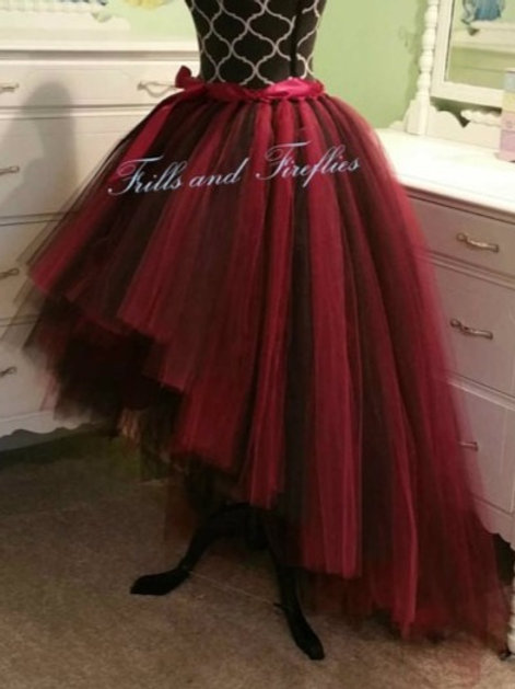 Red and Black High Low Tulle Skirt - Many Colors - Baby to Adult Sizes