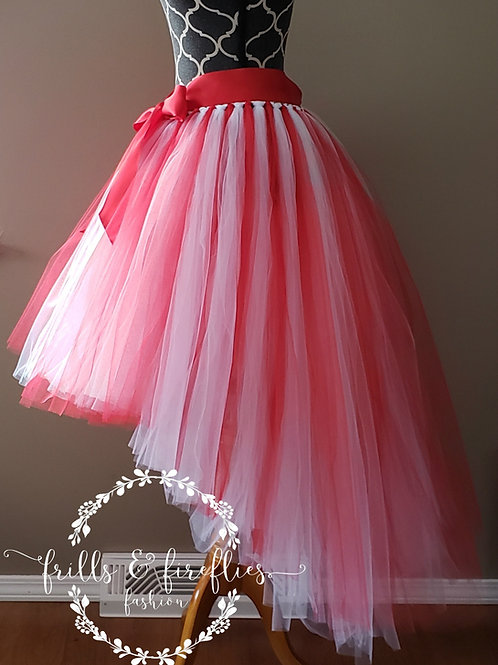 White and Red Hi Lo Tulle Skirt - Many Colors - Baby to Adult Sizes