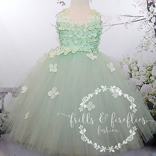 Mint Green Petal Shoulder Flower Girl Dress/Bridesmaid Dress/Prom Dres