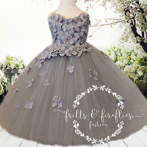 Grey/Gray Strapless Flower Girl Dress/Bridesmaid Dress/Prom Dress