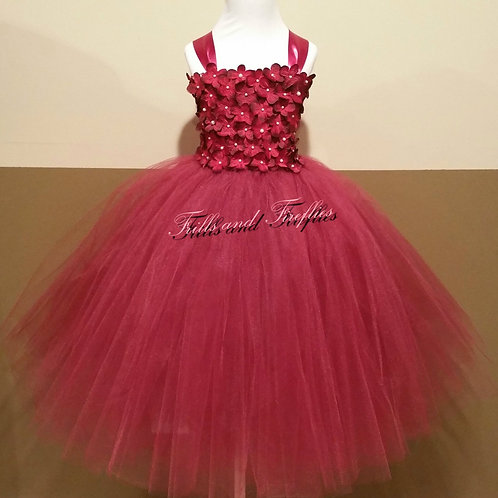 Burgundy Flower Girl Dress / Prom Dress / Bridesmaid Dress / Wedding