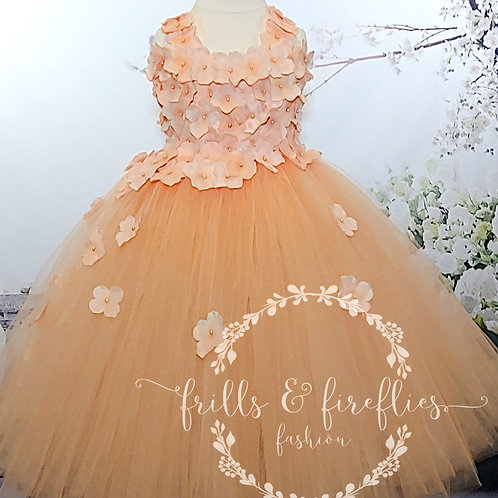 Peach Two Petal Shoulder Flower Girl Dress/Bridesmaid Dress/Prom Dress