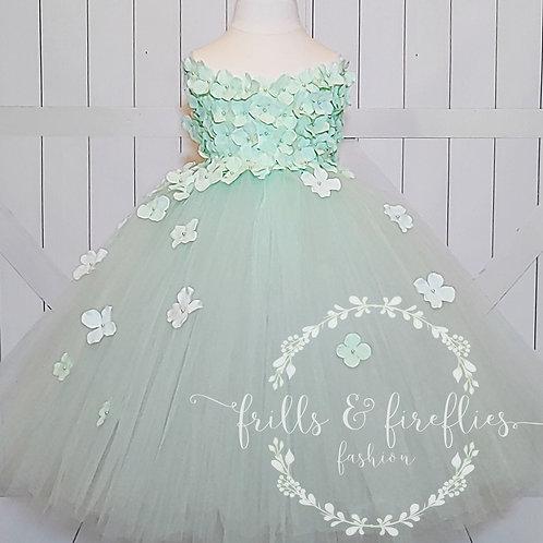 Mint Green Strapless Flower Girl Dress/Bridesmaid Dress/Prom Dress/Wedding
