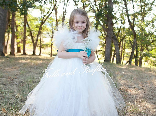 Ivory Flower Girl Dress with Turquoise Satin Flower Sash..Sizes 2t up