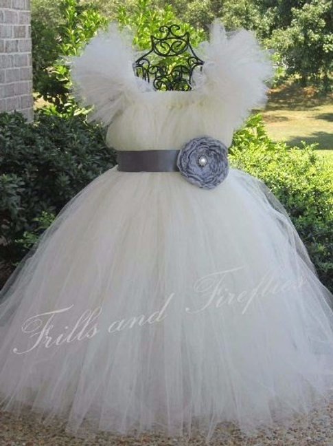 Ivory Flower Girl Dress with Grey Satin Flower Sash..Sizes 2t up to 16