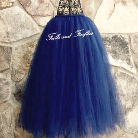 LONG NAVY BLUE TULLE TUTU SKIRT - Many Colors Available -Children to Adult Sizes