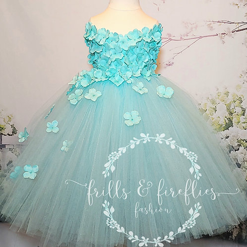 Aqua Strapless Flower Girl Dress/Bridesmaid Dress/Prom Dress/21 Color Choices