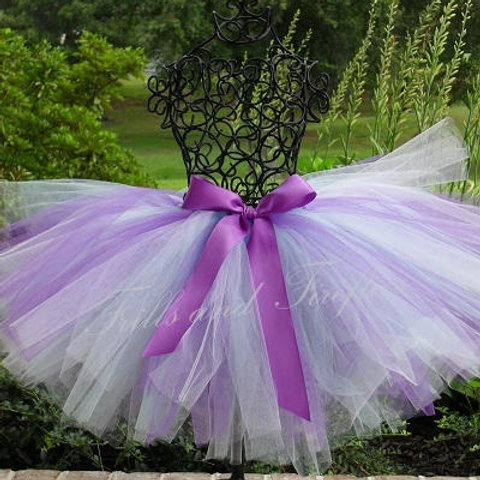 Lavender and White TULLE TUTU SKIRT - Many Colors -Baby to Adult Sizes