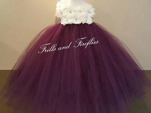 White/Ivory and Aqua One Shoulder Flower Girl Dress/Bridesmaid Dress/Pro
