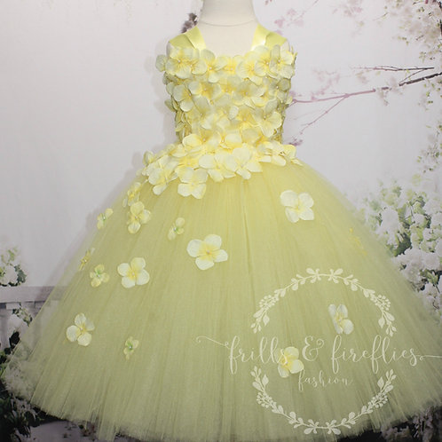 Yellow Flower Girl Dress with 4 Shoulder Styles, in Baby up to Adult Sizes