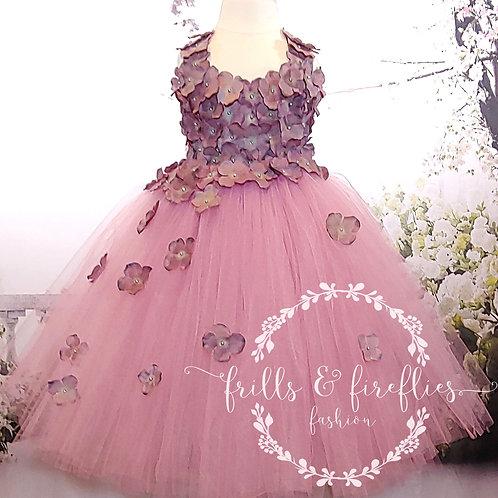 Mauve & Gray Petal Shoulder Flower Girl Dress/Prom Dress/Formal Dress/Girls