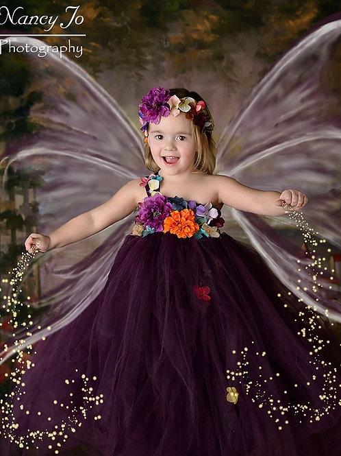 Eggplant Woodland Fairy Flower Girl Dress / Plum Fairy Dresses /Princess Dress
