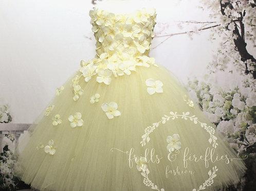 Yellow Strapless Flower Girl Dress/Bridesmaid Dress/Prom Dress/Wedding