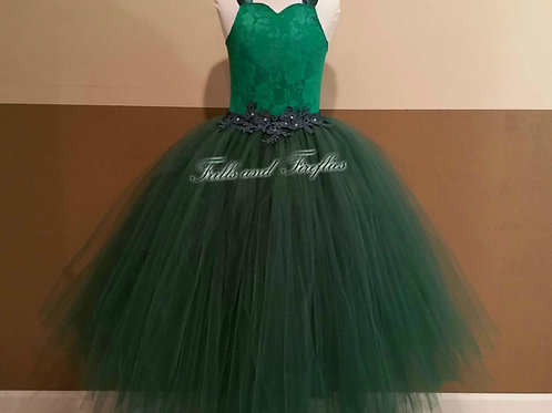 Hunter Green Corset Style Flower Girl Dress Baby Size 1t up to Child