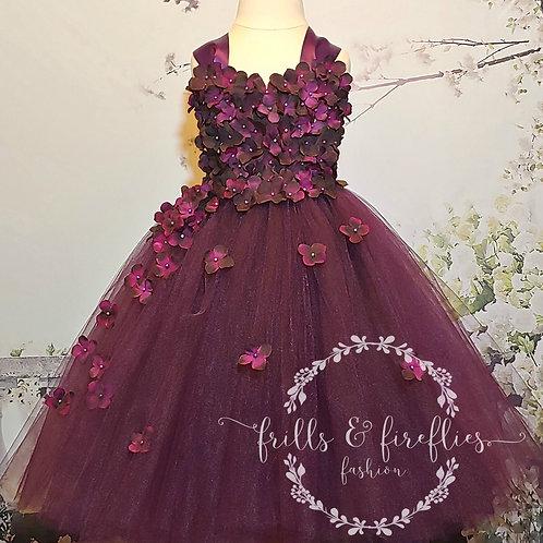 Plum Satin Shoulder Flower Girl Dress/Bridesmaid Dress/Prom Dress/Girl Dresses