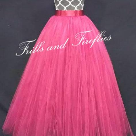 FULL LENGTH HOT PINK TULLE SKIRT / Maxi Skirt / Bridal Skirt / Skirts f