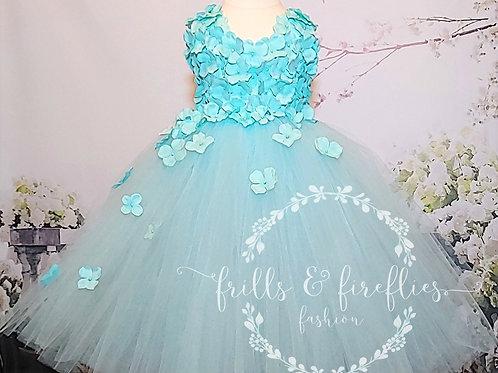 Aqua Two Petal Shoulder Flower Girl Dress/Bridesmaid Dress/Prom Dress