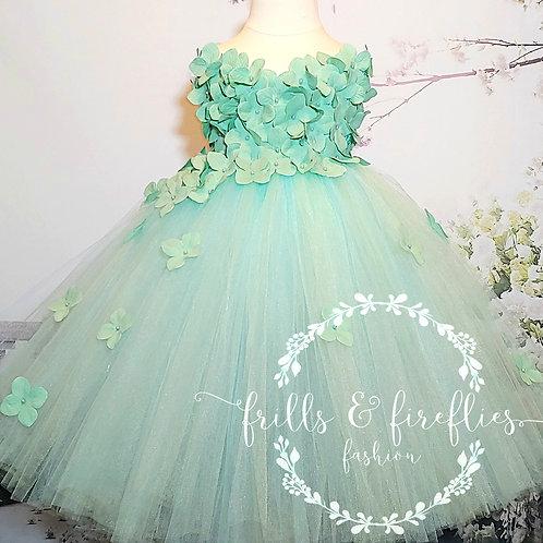 Aqua Mint Strapless Hydrangea Flower Girl Dress/Prom Dress