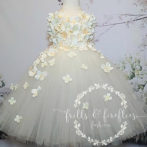 Ivory Cream Strapless Hydrangea Flower Girl Dress/Bridesmaid Dress/Prom Dress