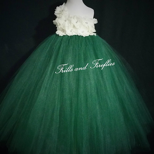Ivory and Hunter Green One Shoulder Flower Girl Dress/Bridesmaid Dress/Pro