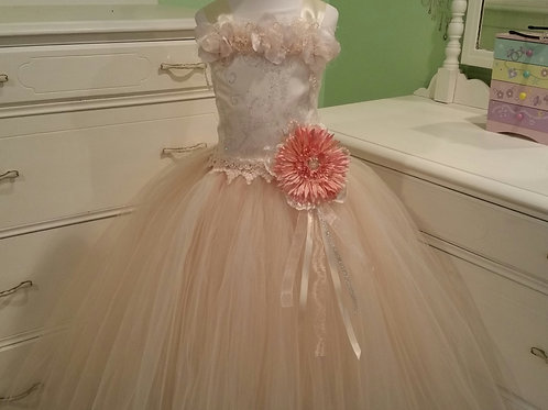 Beige and Ivory Princess Fairy Flower Girl Dress,  Sizes 1t up to 12