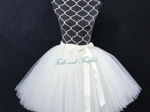WHITE TULLE TUTU SKIRT - Many Colors - Baby to Adult Sizes