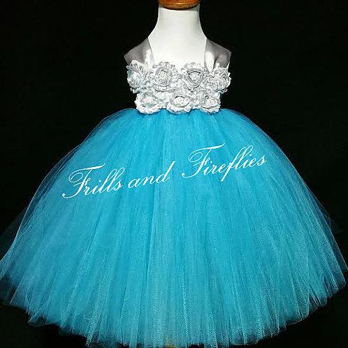 Turquoise/Silver Shabby Chic Flower Girl Dress/Prom Dress/Formal Dress