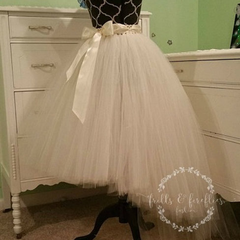 Ivory or White High Low Tulle Skirt - Many Colors - Baby to Adult Sizes