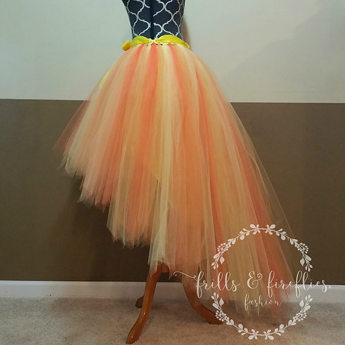 Orange and Yellow Hi Lo Tulle Skirt - Many Colors - Baby to Adult Sizes