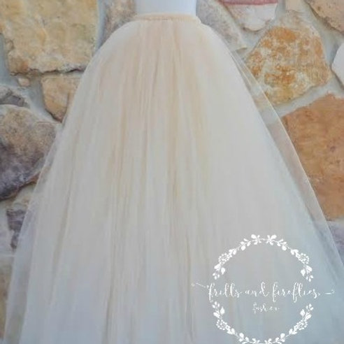 LONG CHAMPAGNE TULLE TUTU SKIRT - Many Colors Available -Children to Adu
