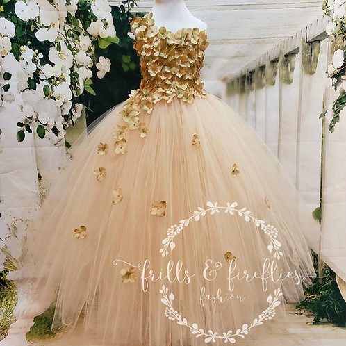 Champagne One Shoulder Flower Girl Dress/Bridesmaid Dress/Prom Dress/Gi