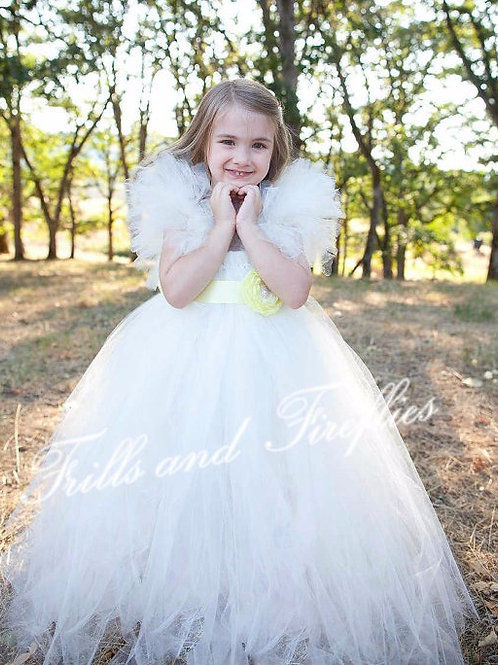 Ivory Flower Girl Dress with Yellow Satin Flower Sash..Sizes 2t up 16