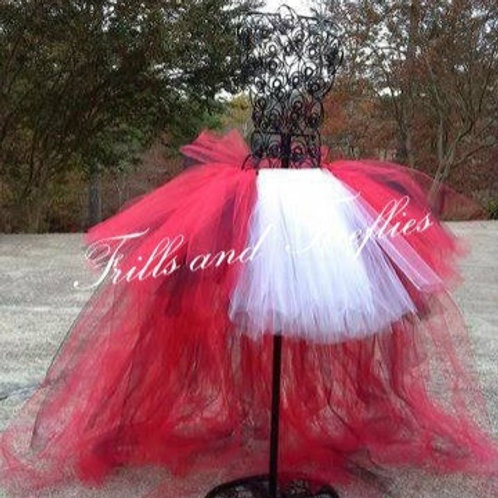 Red and White High Low Tulle Tutu Skirt - Many Colors - Baby to Adult S