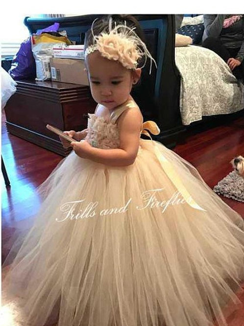 Champagne Shabby Chic Flower Girl Dress/Prom Dress/Wedding/Baby to Sz 12