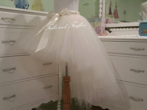 White or Ivory High Low Tulle Tutu Skirt - Many Colors - Baby to Adult Sizes