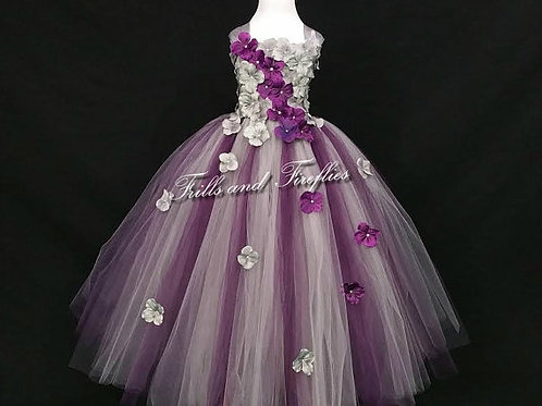 Gray and Plum Flower Girl Dress in Sizes 1t up to 12