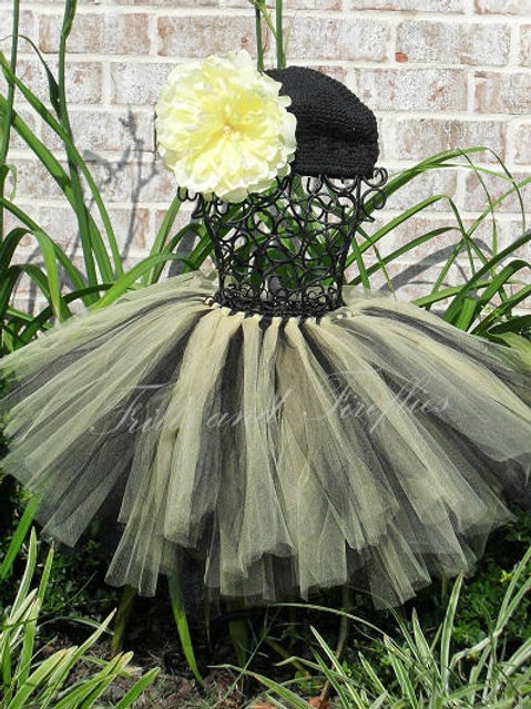 BLACK AND YELLOW BUMBLE BEE TULLE TUTU SKIRT - Many Colors Available -Ch