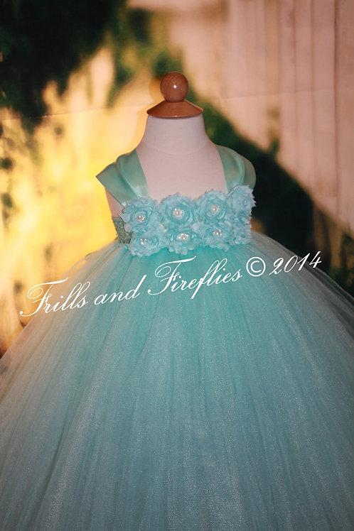 Aqua Shabby Chic Flower Girl Dress/Prom Dress/Formal Dress/ Baby to Sz 12