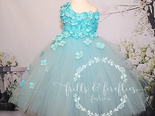 Aqua One Shoulder Flower Girl Dress/Bridesmaid Dress/Prom Dress