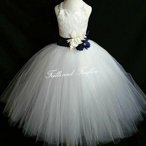 White or Ivory with Navy Flower Girl Corset Dress/ Bridesmaid Dress / Prom Dress