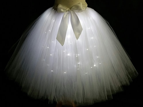 White or Ivory LED Lighted Tulle Tutu Skirt - Many Colors - Baby to Adult S