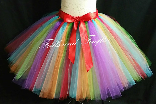 RAINBOW TULLE TUTU SKIRT - Many Colors - Children to Adult Sizes