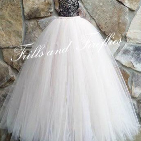 LONG BLUSH TULLE TUTU SKIRT - Many Colors Available -Children to Adu