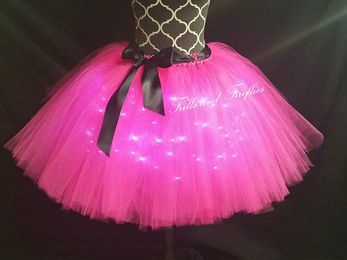 Hot Pink LED Lighted Tulle Tutu Skirt - Many Colors - Baby to Adul