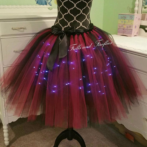 Fuchsia & Black LED Lighted Tulle Tutu Skirt - Many Colors - Baby to Adult Sizes