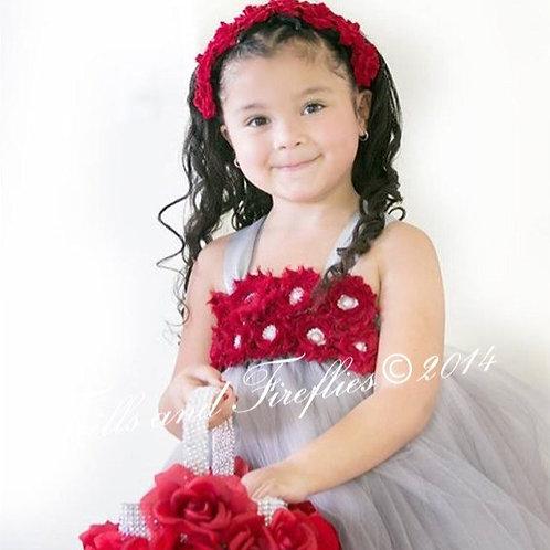 Grey/Gray Shabby Chic Flower Girl Dress Dark Red Flowers/Prom Dress/Formal Dress
