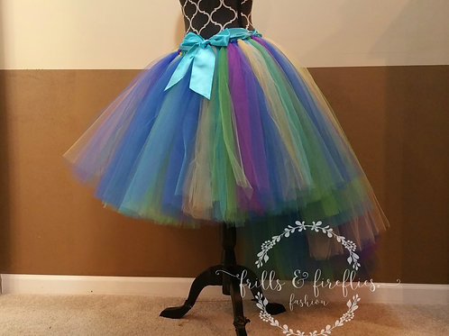 Peacock High Low Tulle Skirt - Many Colors - Baby to Adult Sizes